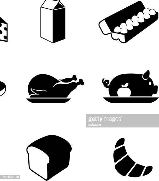 food black & white royalty free vector icon set