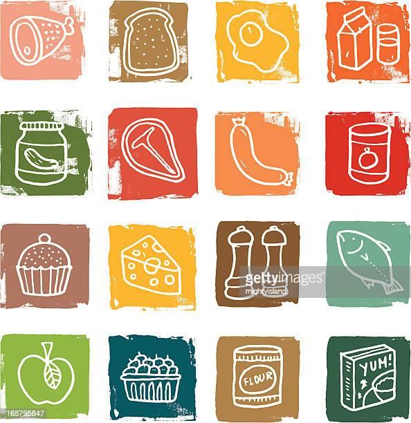 ilustraciones, imágenes clip art, dibujos animados e iconos de stock de bloque conjunto de iconos de comida - chuletón