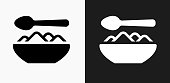Food Bowl Icon on Black and White Vector Backgrounds