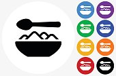 Food Bowl Icon on Flat Color Circle Buttons