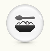 Food Bowl icon on white round vector button