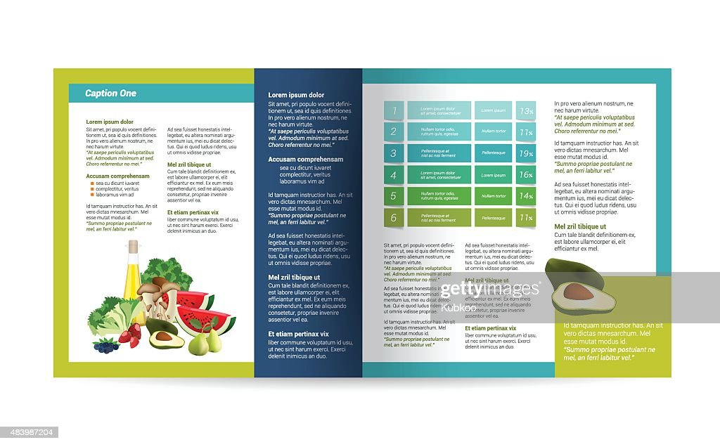 Food Brochure design. Magazine layout for infographics.