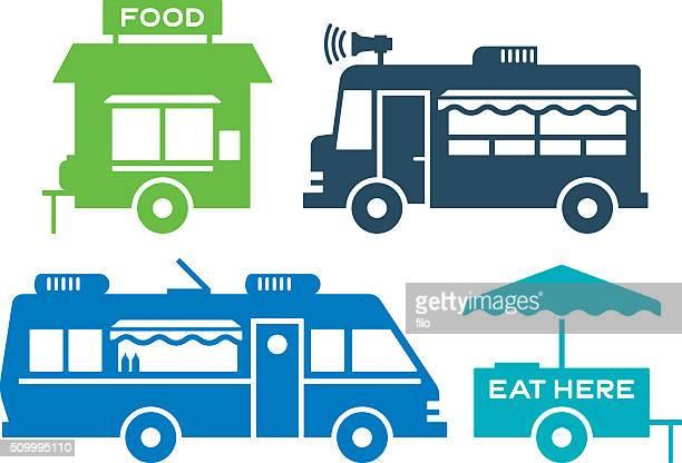 ilustraciones, imágenes clip art, dibujos animados e iconos de stock de comida cestas y calle comida iconos y símbolos - puesto de mercado