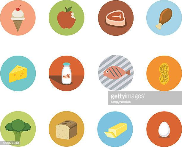 food circle icons - broccoli stock illustrations, clip art, cartoons, & icons