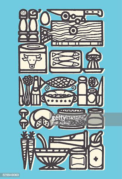 food collage - baked stock illustrations, clip art, cartoons, & icons
