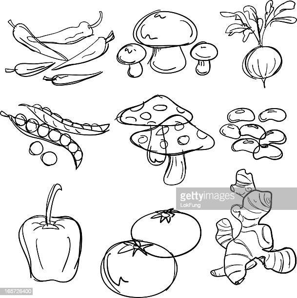 food collection in black and white - pepper vegetable stock illustrations
