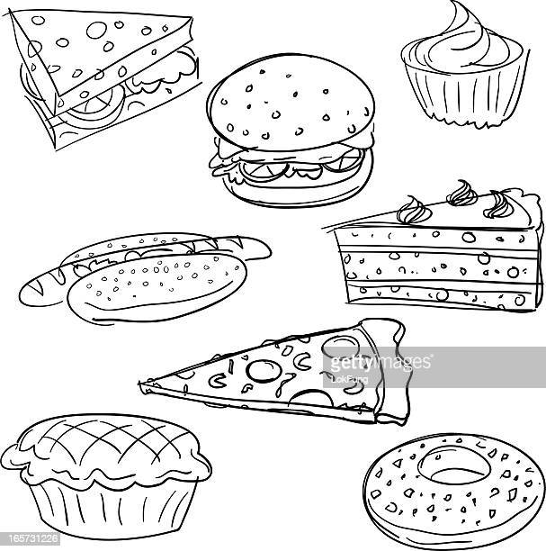 food collection in black and white - savoury pie stock illustrations
