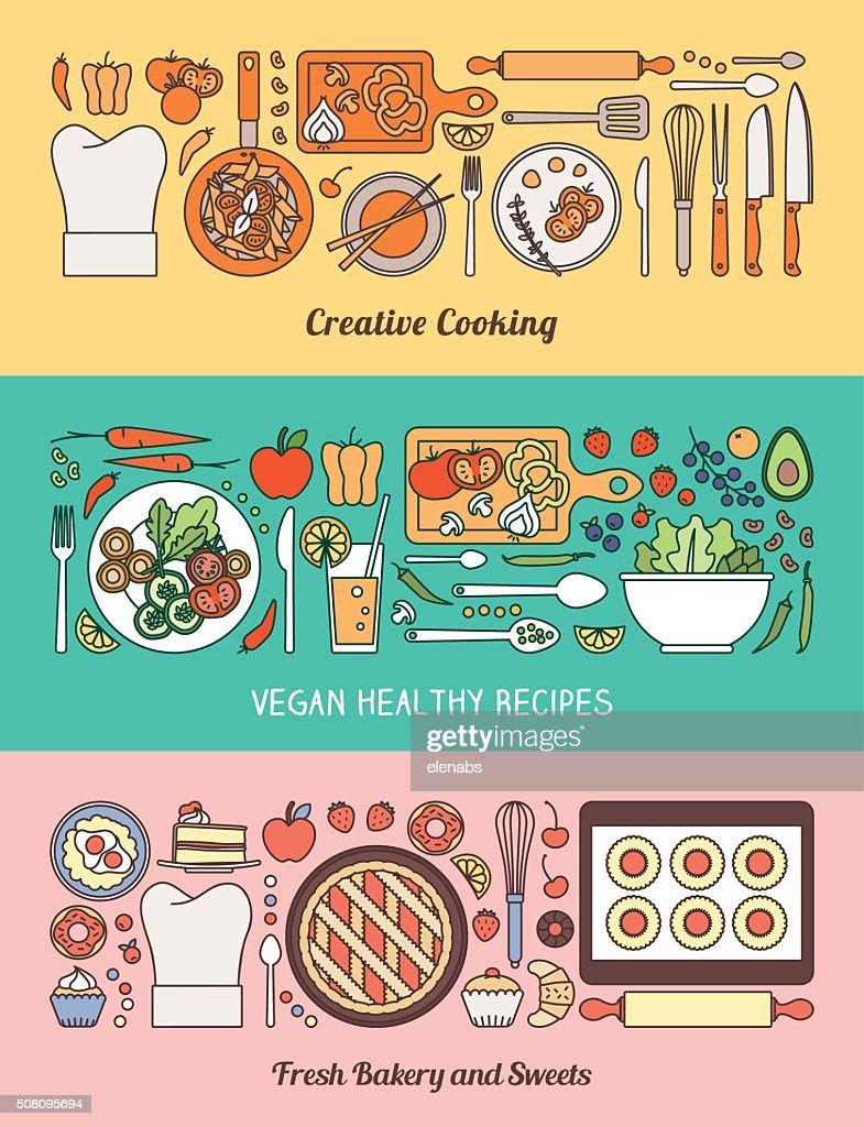 Food, cooking and healthy eating banner set