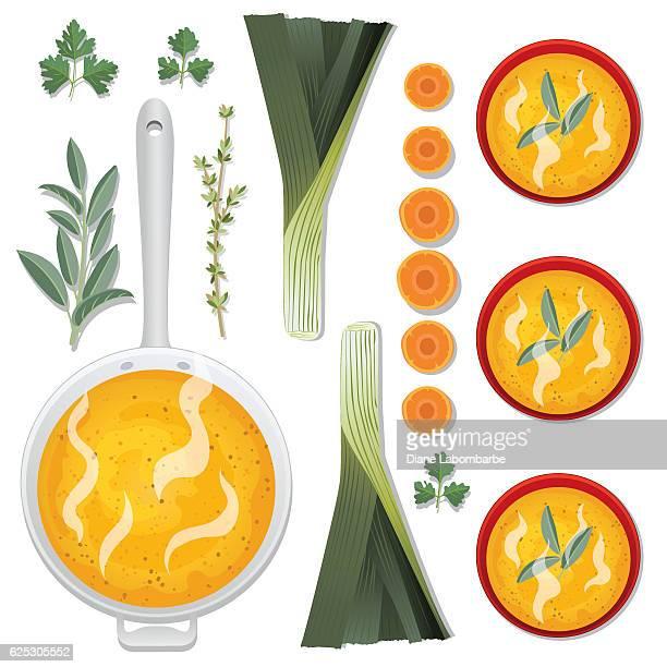 food cooking flat lay - soup - leek stock illustrations, clip art, cartoons, & icons