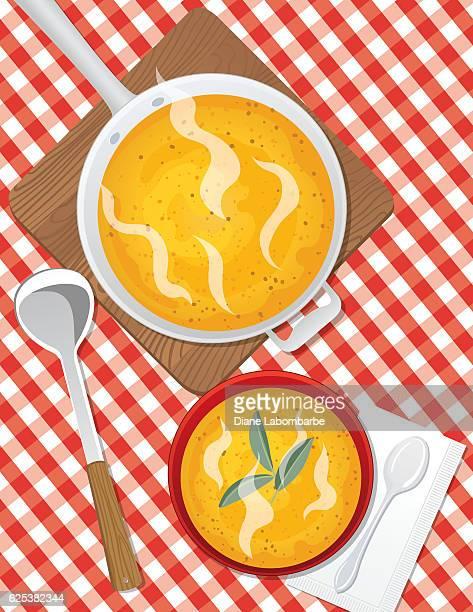 ilustraciones, imágenes clip art, dibujos animados e iconos de stock de food cooking flat lay with butternut squash soup - al vapor