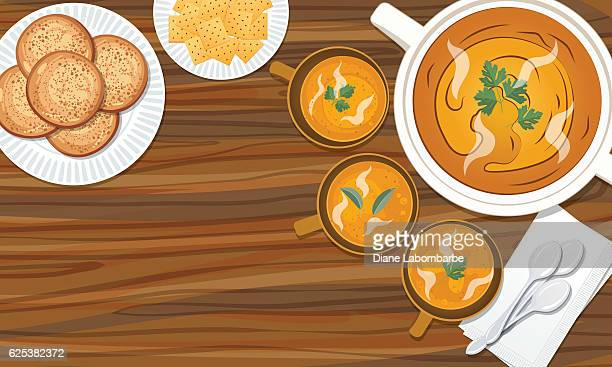food cooking flat lay with butternut squash soup - bun bread stock illustrations, clip art, cartoons, & icons