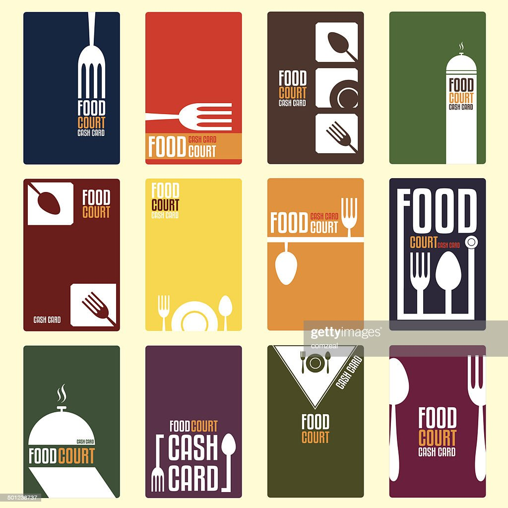 Food court cash card. Menu card. Vector illustration