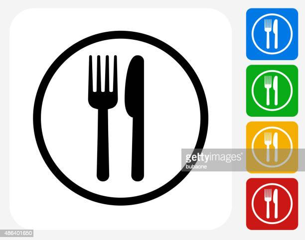 food court sign icon flat graphic design - utility knife stock illustrations