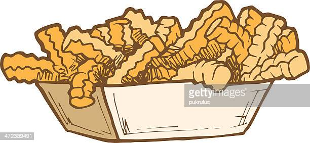 food - crinkle cut fries - french fries stock illustrations, clip art, cartoons, & icons