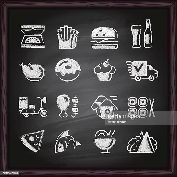 Food Deliver chalkboard icons