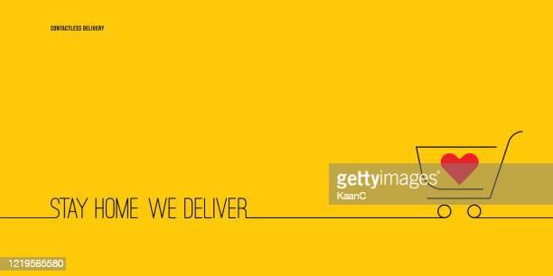 illustrazioni stock, clip art, cartoni animati e icone di tendenza di forniture alimentari, generi alimentari e forniture vettore stock. consegna a domicilio, vettore di consegna contactless - commercio elettronico