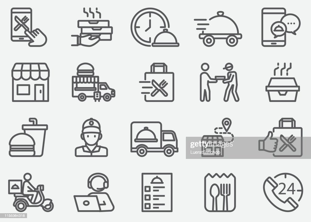 Food Delivery and Take Away Line Icons : Stock Illustration