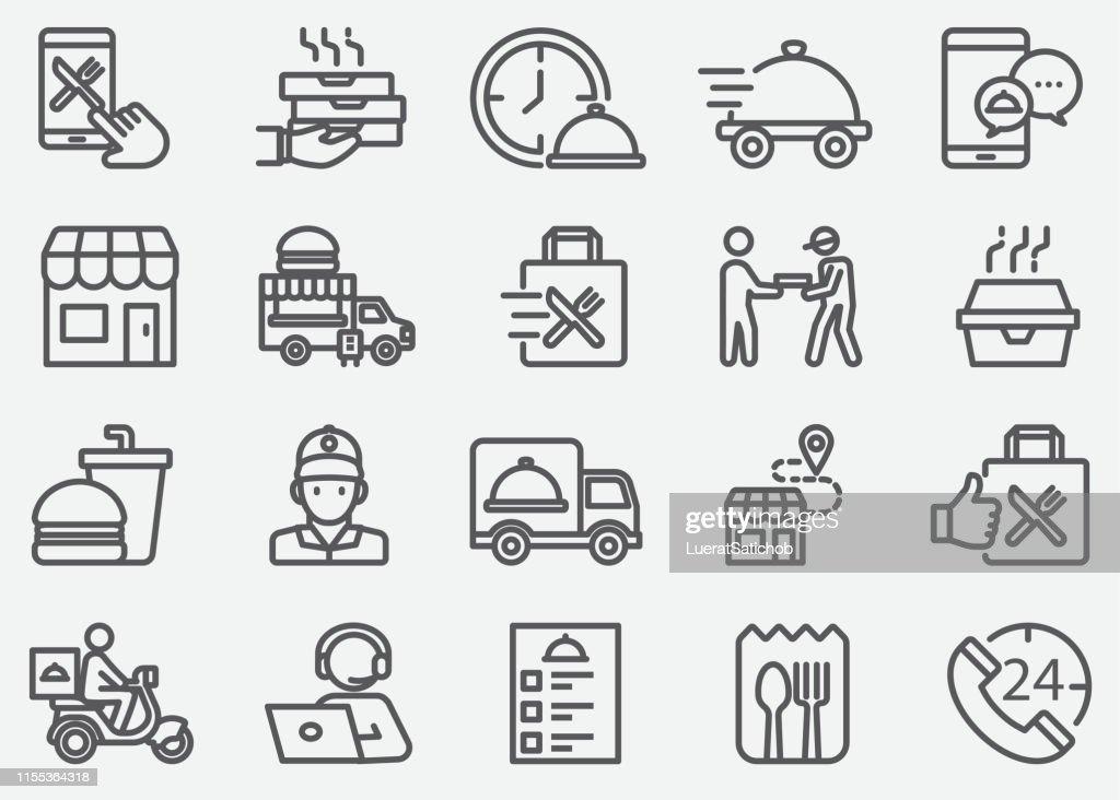 Voedsellevering en weg te nemen lijn iconen : Stockillustraties