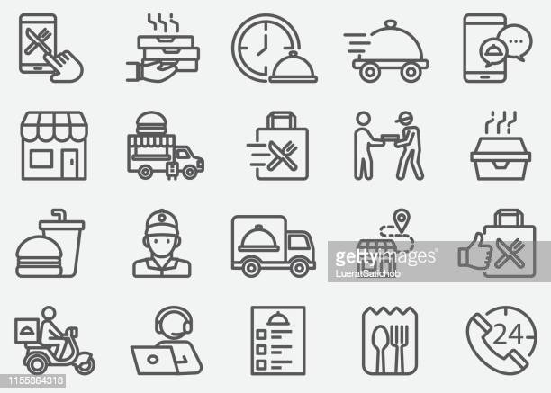 stockillustraties, clipart, cartoons en iconen met voedsellevering en weg te nemen lijn iconen - {{ collectponotification.cta }}