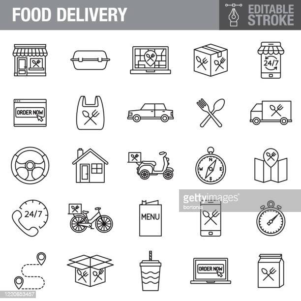 food delivery editable stroke icon set - fast food stock illustrations