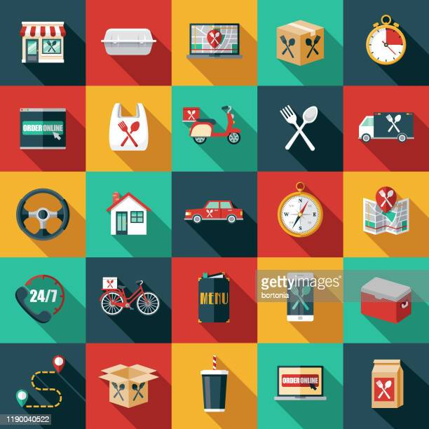 food delivery icon set - unhealthy eating stock illustrations