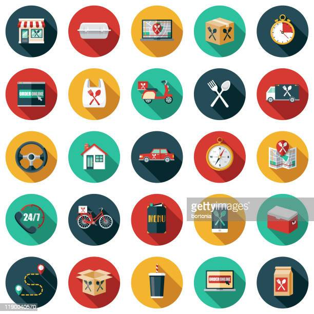 food delivery icon set - restaurant stock illustrations