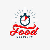 Food delivery icon. Timer and food delivery inscription on light background. Fast delivery, express and urgent shipping, eat mealservices, chronometer sign. Food delivery design