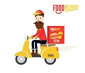 Food delivery man is riding yellow motor bike.