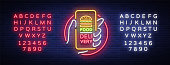 Food Delivery neon sign. Smartphone in hands, ordering food through smartphone, symbol in neon style, light banner, bright night advertising food delivery. Vector illustration. Editing text neon sign