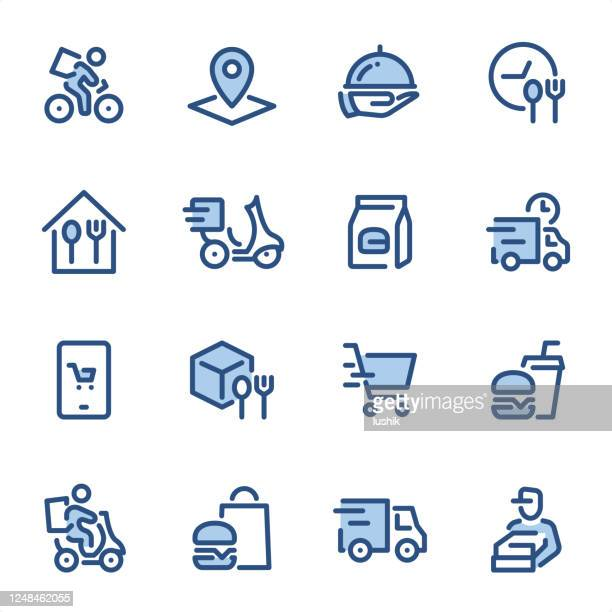食品配達 - ピクセルパーフェクトブルーラインアイコン - トレイ点のイラスト素材/クリップアート素材/マンガ素材/アイコン素材