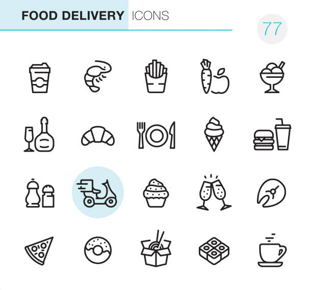 food delivery - pixel perfect icons - frozen food stock illustrations