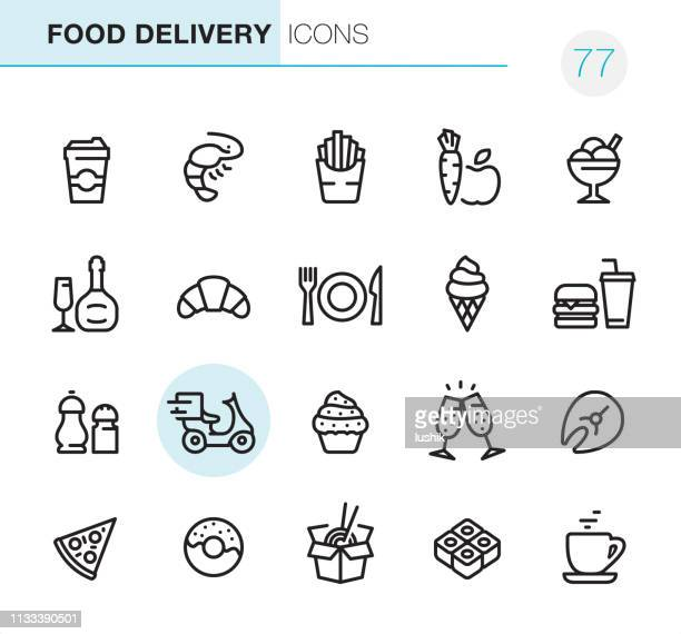 food delivery - pixel perfect icons - pepper vegetable stock illustrations