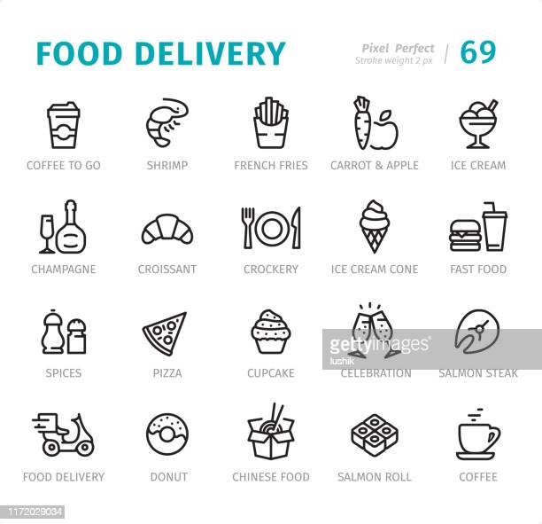 food delivery - pixel perfect line icons with captions - panna cotta stock illustrations, clip art, cartoons, & icons