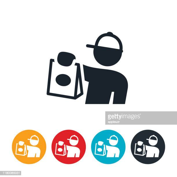 food deliveryman icon - delivering stock illustrations