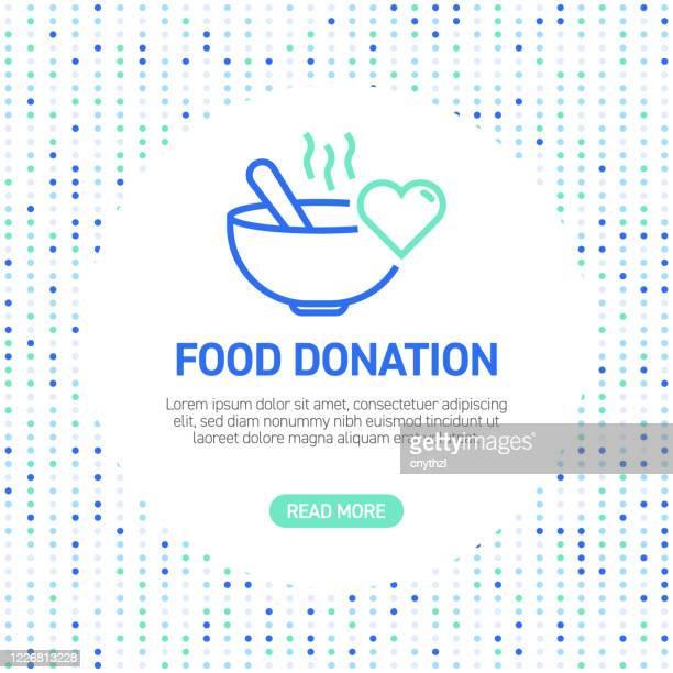 食品寄付ラインアイコン。パターン付きのシンプルアウトラインアイコン - 募金箱点のイラスト素材/クリップアート素材/マンガ素材/アイコン素材