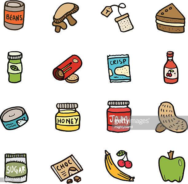 food doodle icon set - baked beans stock illustrations, clip art, cartoons, & icons