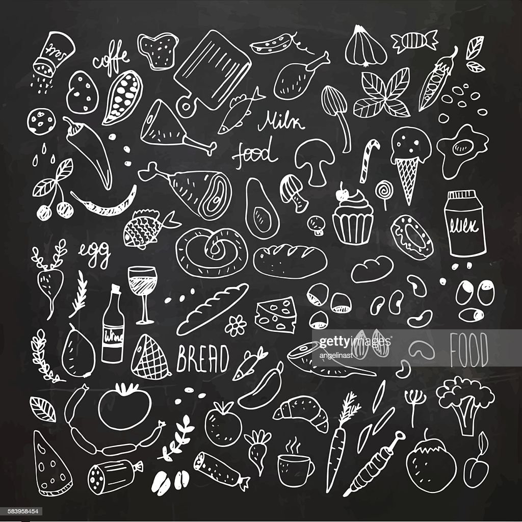 Food doodles collection. Hand drawn vector icons. Freehand drawing