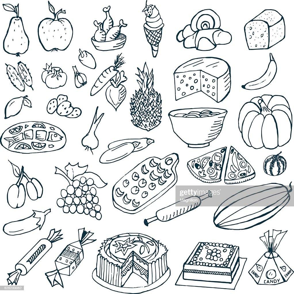 Food Doodles Vector Art Getty Images