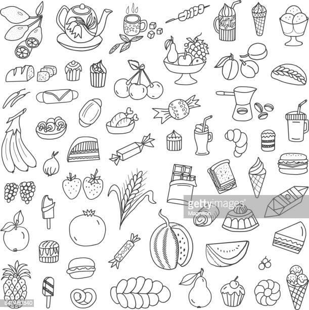 ilustrações, clipart, desenhos animados e ícones de comida e rabiscos - hamburger
