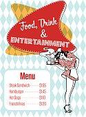 Food, Drink And Entertainment Diner Menu Vector Art