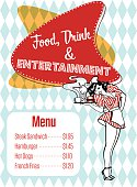Food, Drink And Entertainment Diner Menu Vector Art