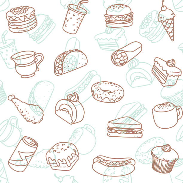 food & drink line art icon seamless wallpaper pattern - frozen food stock illustrations