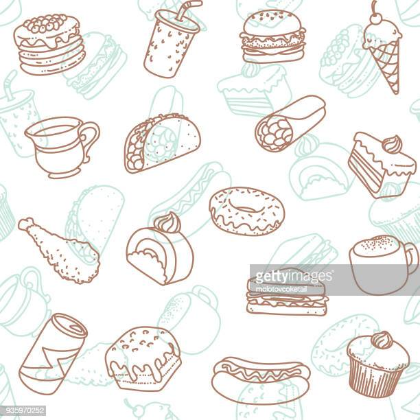 food & drink line art icon seamless wallpaper pattern - unhealthy eating stock illustrations