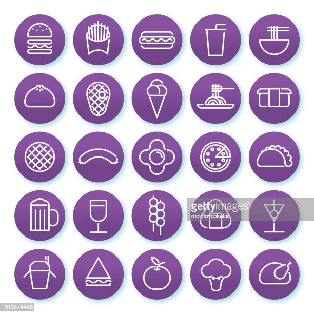 food & drink minimalist line icon set on a round purple background