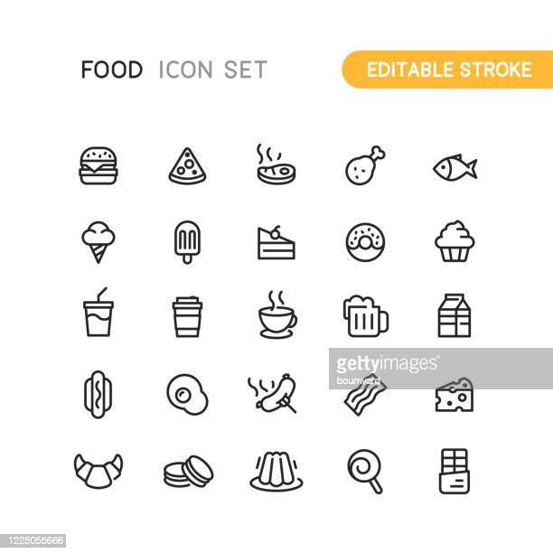 food & drink outline icons editable stroke - frozen food stock illustrations