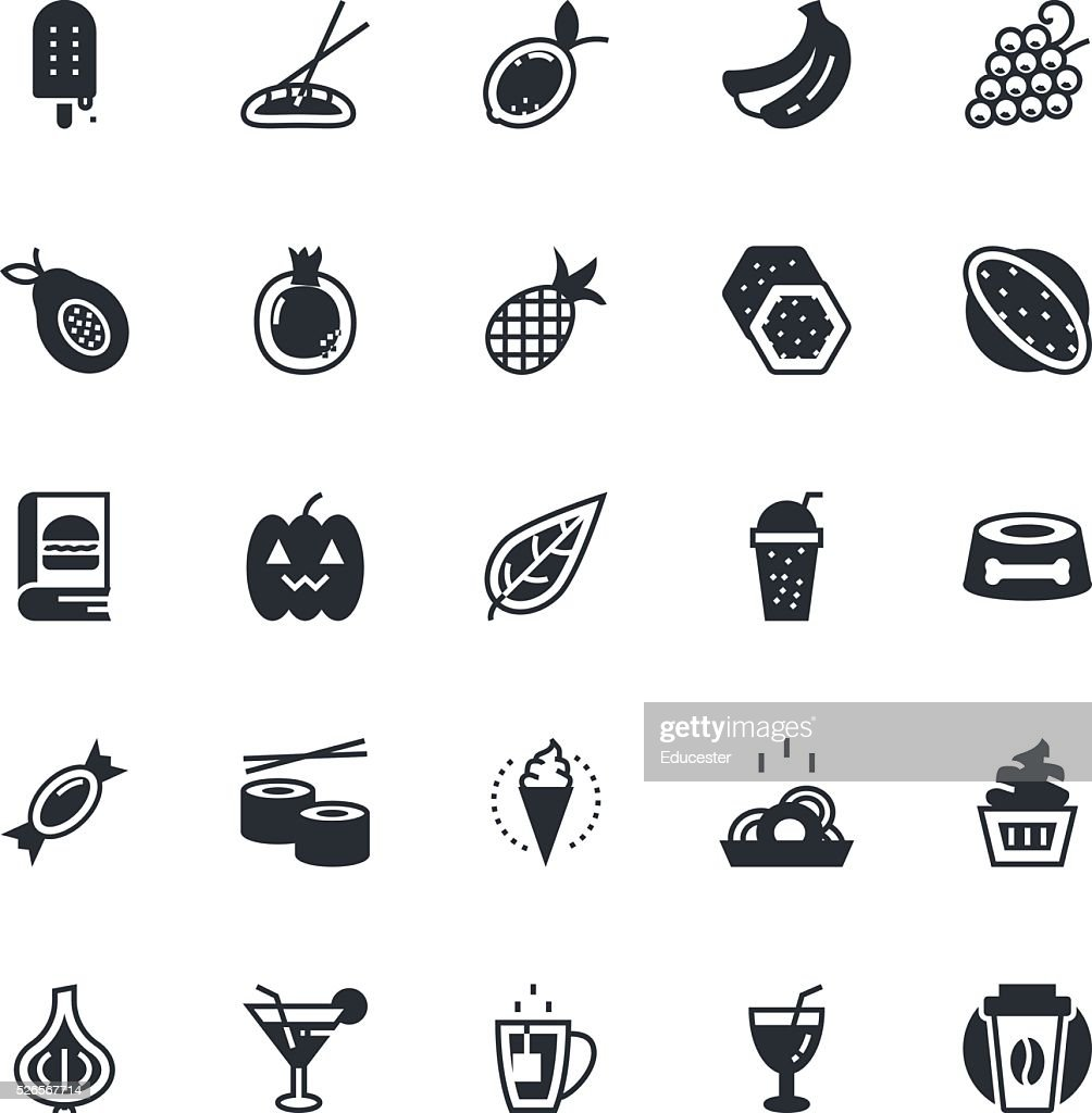 Food, Drinks, Fruits, Vegetables Vector Icons 4