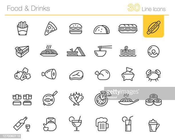 essen & trinken icons / / linie premium - speisen stock-grafiken, -clipart, -cartoons und -symbole