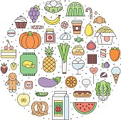 Food & drinks (grocery) outline circle illustration. Part one.
