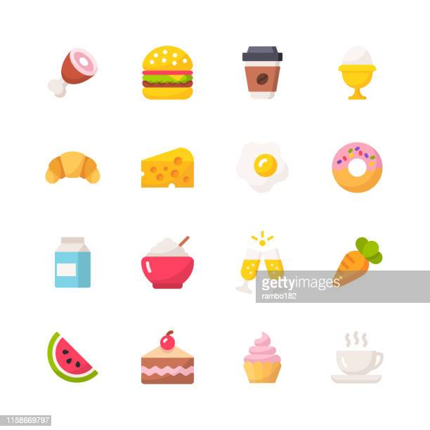 food flat icons. material design icons. pixel perfect. for mobile and web. contains such icons as meat, food, hamburger, fast food, coffee, cheese, rice, watermelon, fruit. - baked stock illustrations, clip art, cartoons, & icons