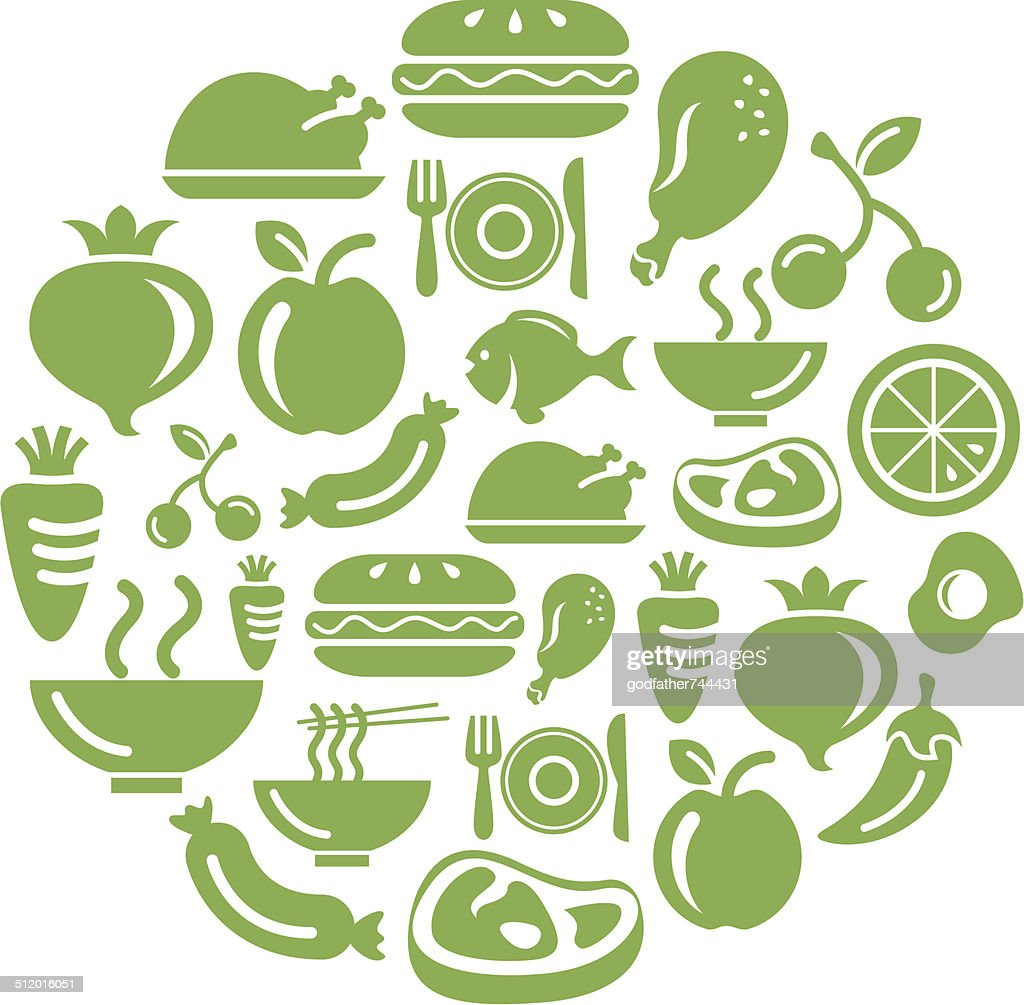 Food, Fruits and Vegetables Icons in Circle Shape